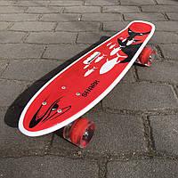 Скейт Пенни борд для детей Skate со светящимися колесами Красный