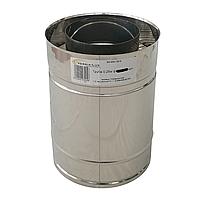 Труба дымоходная сэндвич d 130 мм; 0,8 мм; AISI 304; 25 см; нержавейка/нержавейка - «Версия Люкс», фото 2