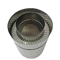 Труба дымоходная сэндвич d 100 мм; 0,8 мм; AISI 304; 25 см; нержавейка/нержавейка - «Версия Люкс», фото 3