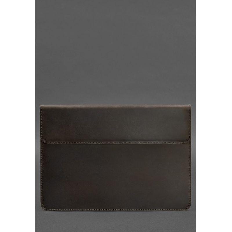 """Шкіряний чохол-конверт на магнітах для MacBook Pro 15-16"""" Темно-коричневий"""