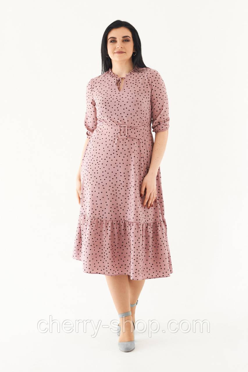 Легкое и нарядное розовое платье в мелкий горошек, в размере 48,50,52,54