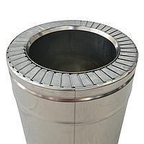 Труба дымоходная сэндвич d 130 мм; 0,8 мм; AISI 304; 25 см; нержавейка/нержавейка - «Версия Люкс», фото 3