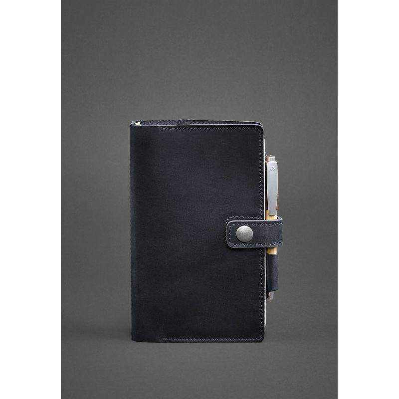 Кожаный блокнот (Софт-бук) 4.0 темно-синий Crazy Horse