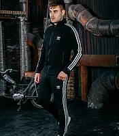 Спортивный костюм мужской Adidas Адидас весна осень трикотаж черный. Живое фото. Чоловічий костюм модный