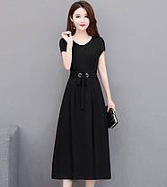 Стильне видовжене плаття з поясом, фото 2
