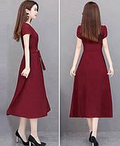 Стильне видовжене плаття з поясом, фото 3