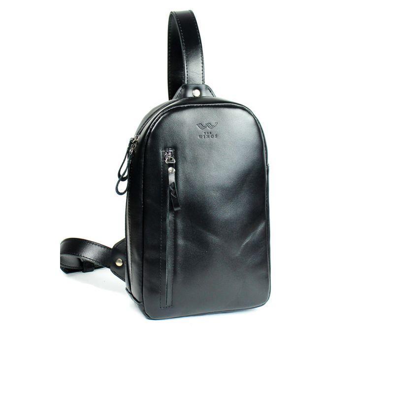 Чоловіча шкіряна сумка Chest bag чорна