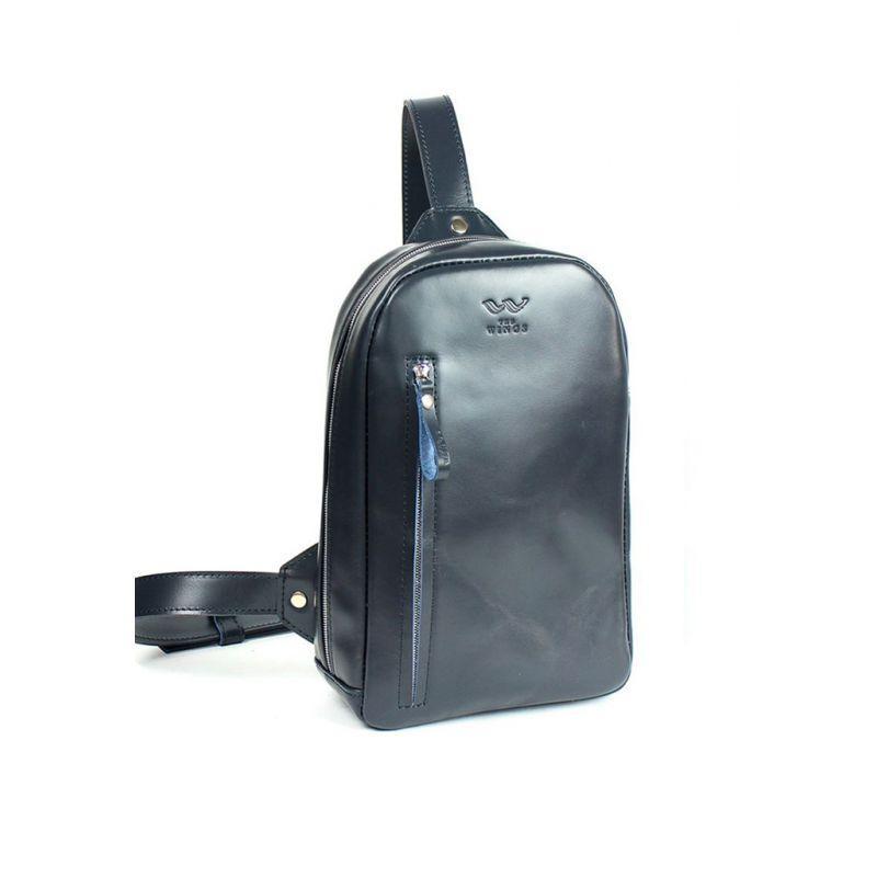 Чоловіча шкіряна сумка Chest bag синя