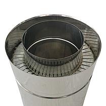 Труба дымоходная сэндвич d 110 мм; 1 мм; AISI 304; 25 см; нержавейка/нержавейка - «Версия Люкс», фото 2