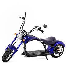 Електроскутер Chopper 1500W, 60V, 12Ah Vitol синього кольору