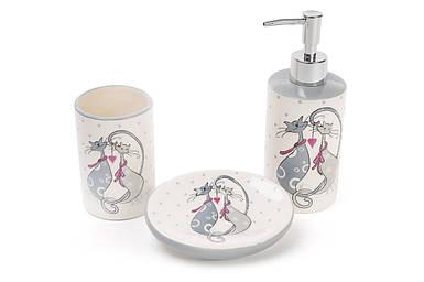 Набор для ванной BonaDi керамический Влюбленные коты:диспенсер 375мл,мыльница,стакан DM940-L