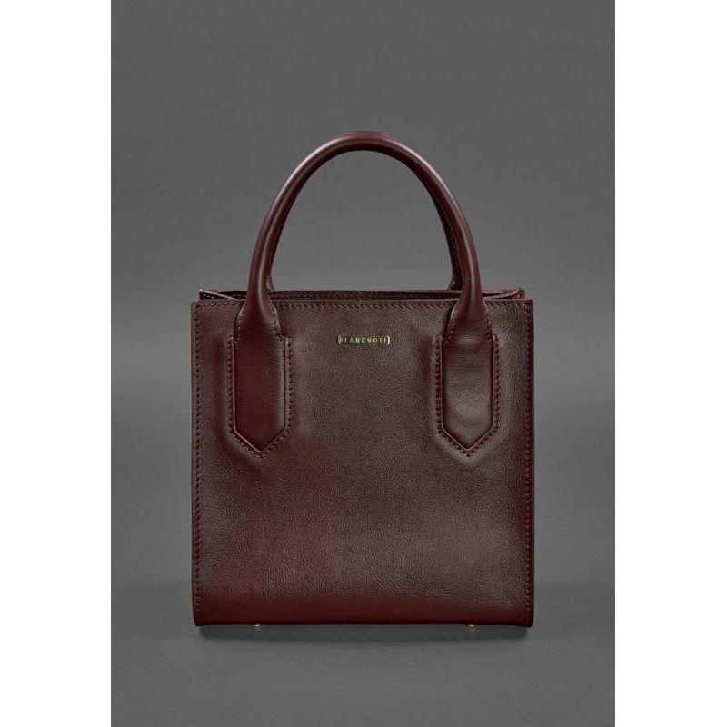 Шкіряна жіноча сумка-кроссбоди бордова
