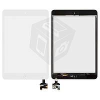 Сенсорный экран (touchscreen) для iPad mini, с кнопкой HOME, с микросхемой, белый, оригинал
