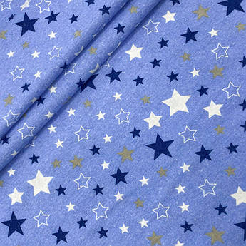 """Фланель """"Звездный карнавал синий на голубом"""" 160см"""