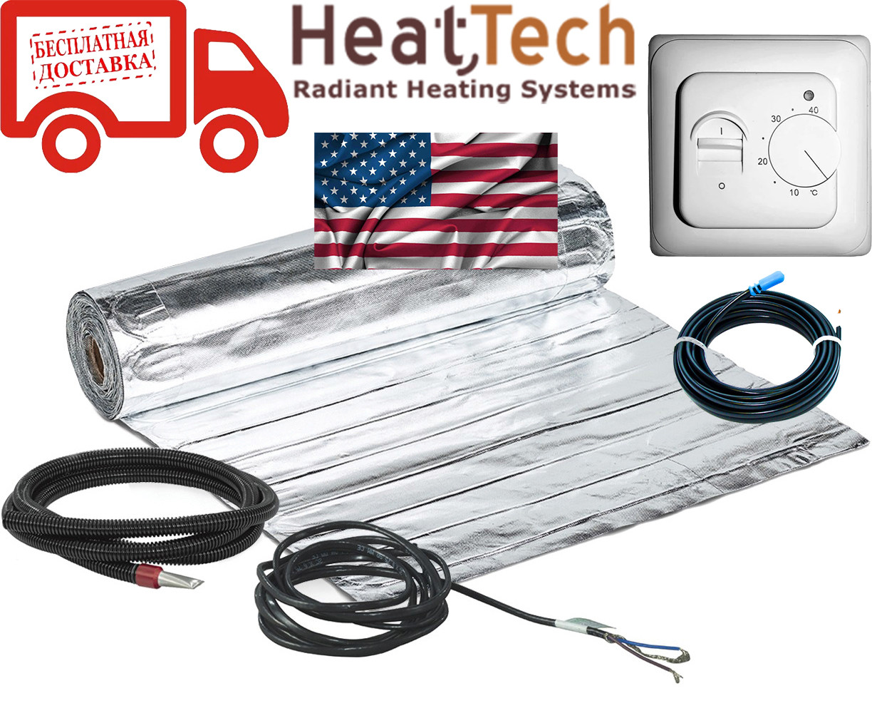 Алюмінієвий мат для теплої підлоги HeatTech (США) HTALMAT 2250Вт 15,0 м. кв. Комплект з терморегулятором