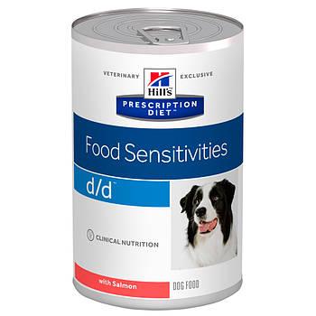 Консерва Hill's PD d/d Food Sensitives для собак при пищевой аллергии с лососем, 370 г
