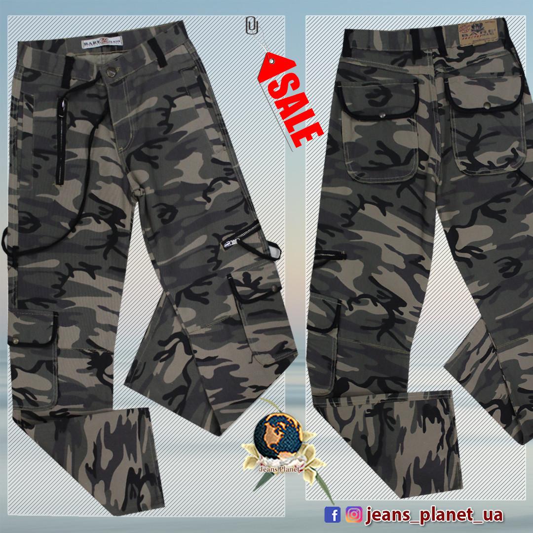 Джинсы мужские прямые с накладными карманами камуфляж 28 размер