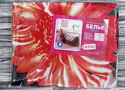 Черное двуспальное постельное белье с красной астрой