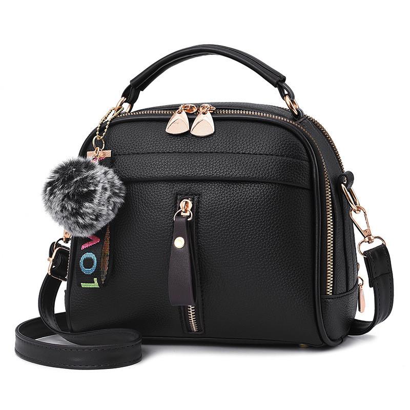 Женская сумка на молнии кросс-боди, черная сумка через плечо среднего размера, Сумка из кожзама, AL-4554-10