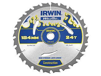 Диск пильный по деревоматериалам Weldtec CSB 184мм/24T AR16, IRWIN