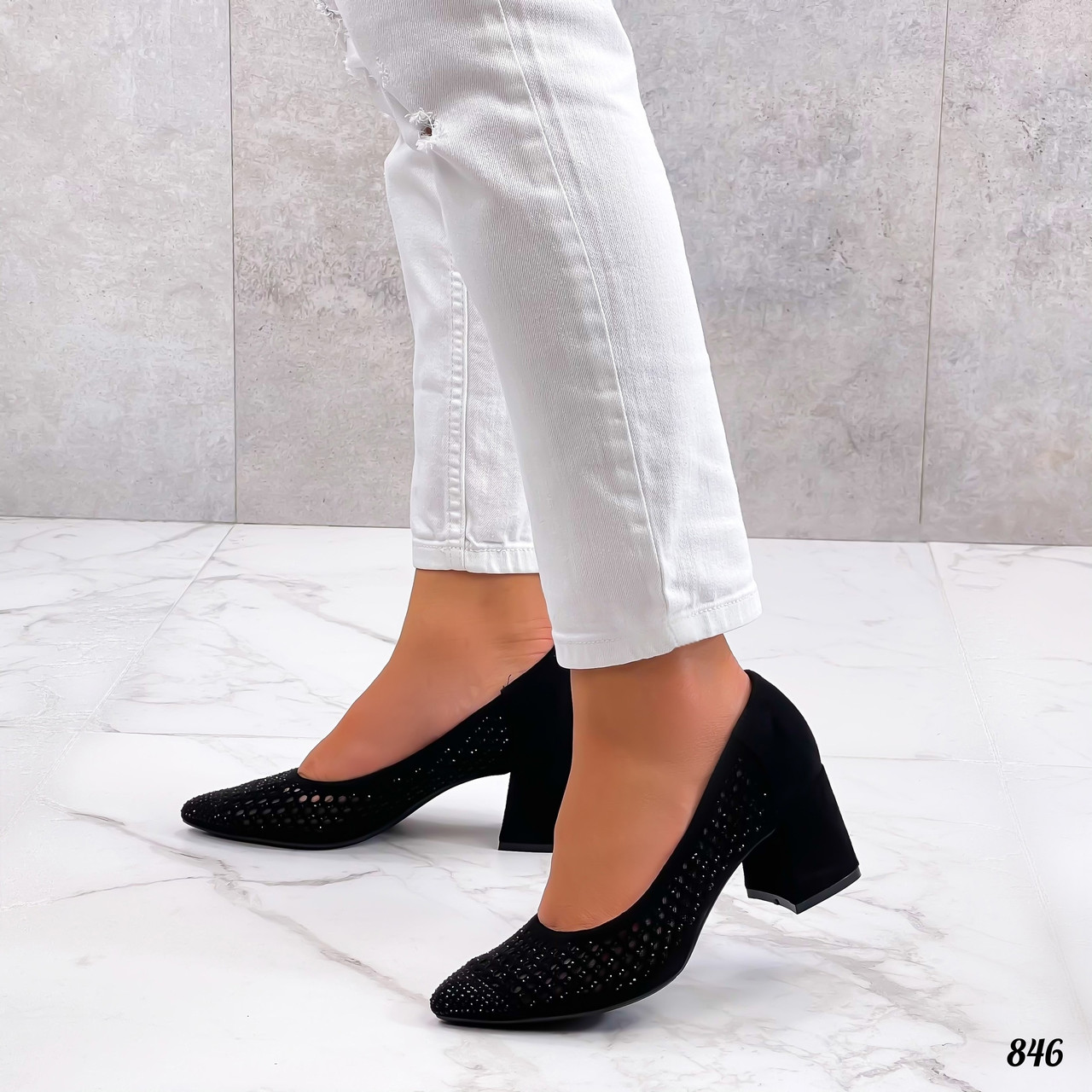 Шикарные женские туфли на каблуке из эко замш 36-40 р чёрный
