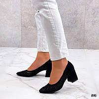 Шикарные женские туфли на каблуке из эко замш 36-40 р чёрный, фото 1