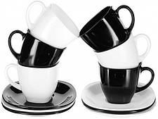Чайный сервиз Luminarc Carine Blackamp;White 6 чашек 220мл и 6 блюдец Luminarc LUM-D2371