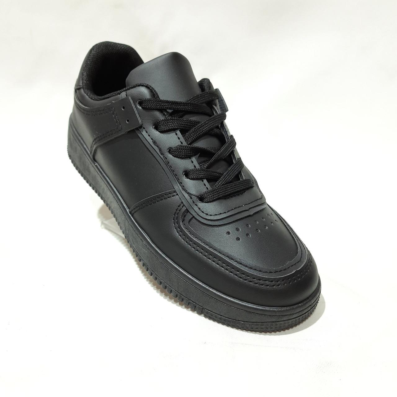 36,39 р Жіночі кросівки, кеди весняні з еко-шкіри в стилі Nike Air force Чорні