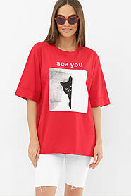 Длинная красная футболка с разрезами по бокам и котиком Турция  S M L Xl