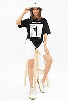 Класна чорна футболка з розрізами з боків і котиком Туреччина S M L, фото 3