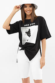 Классная черная футболка с разрезами по бокам и котиком Турция  S M L