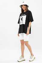 Класна чорна футболка з розрізами з боків і котиком Туреччина S M L, фото 2