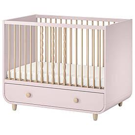 IKEA MYLLRA  Детская кроватка с ящиком, нежно-розовая (504.626.11)