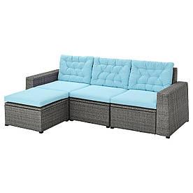 IKEA SOLLERÖN  3-местный модульный уличный диван с подставкой для ног тёмно-серый / Куддар голубой