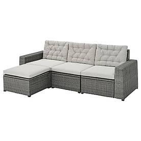 IKEA SOLLERÖN 3-х місний модульний вуличний диван з підставкою для ніг темно-сірий / Куддарна сірий