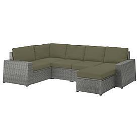 IKEA SOLLERÖN  Модульный угловой диван, 4-местный садовый, с подставкой для ног темно-серый / Frösön /
