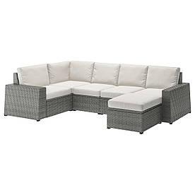 IKEA SOLLERÖN Модульний кутовий диван, 4-місний садовий, з підставкою для ніг темно-сірий / Frösön /
