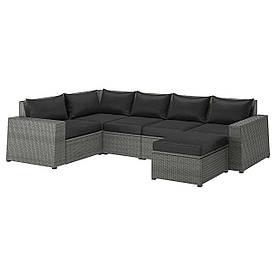 IKEA SOLLERÖN  Модульный угловой диван, 4-местный садовый, с подставкой для ног темно-серый / Холло черный