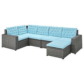 IKEA SOLLERÖN  Модульный угловой диван, 4-местный садовый, с подставкой для ног темно-серый / Куддарна голубой