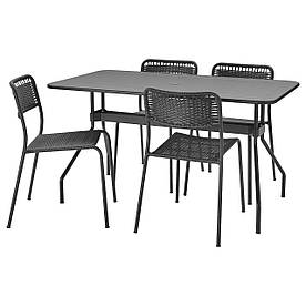 IKEA VIHOLMEN  Стол + 4 стула, снаружи, темно-серый / темно-серый (494.135.27)