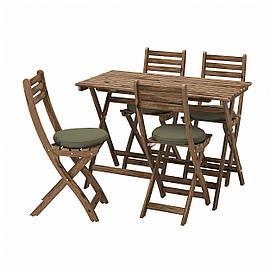 IKEA ASKHOLMEN Стіл + 4 складних садових стільця, сіро-коричнева морилка / Frösön / Duvholmen