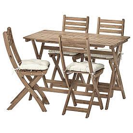 IKEA ASKHOLMEN  Стол + 4 складных садовых стула, серо-коричневая морилка / Куддарна бежевая (292.861.82)