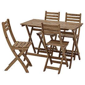 IKEA ASKHOLMEN Стіл + 4 стільця, зовні, сіро-коричнева морилка (192.121.82)
