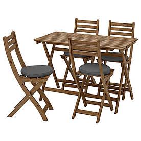 IKEA ASKHOLMEN Стіл + 4 складних садових стільця, сіро-коричнева морилка / Frösön / Duvholmen темно-сірий