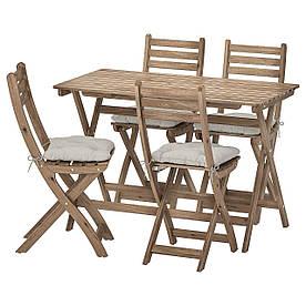 IKEA ASKHOLMEN  Стол + 4 складных садовых стула, серо-коричневая морилка / Куддарна серый (992.861.88)