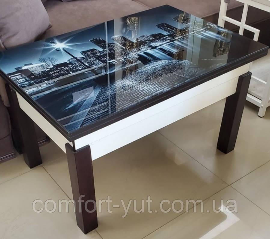 Стол трансформер Флай комбинированный со стеклом 04_123, журнальный обеденный