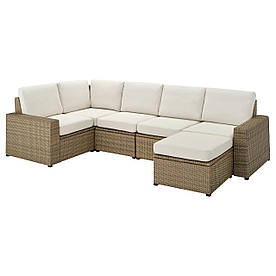 IKEA SOLLERÖN Модульний кутовий диван, 4-місний садовий, з підставкою для ніг коричневий / Frösön /