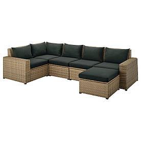 IKEA SOLLERÖN  Модульный угловой диван, 4-местный садовый, с подставкой для ног коричневый / Холло черный