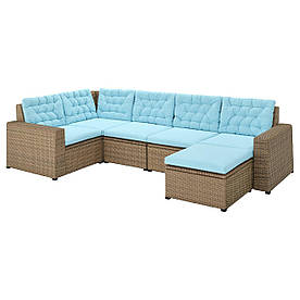 IKEA SOLLERÖN Модульний кутовий диван, 4-місний дачний, з підставкою для ніг коричневий / блакитний Куддарна