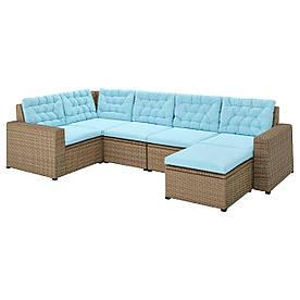 IKEA SOLLERÖN  Модульный угловой диван, 4-местный дачный, с подставкой для ног коричневый / голубой Куддарна